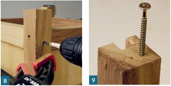 Photo: how to make garden planter -  drilling a hardwood