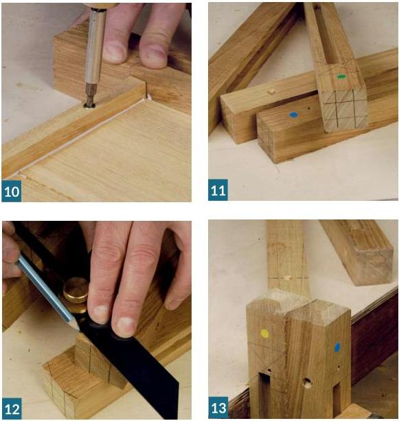 Photo: how to make garden planter -  mark the chamfer & cut