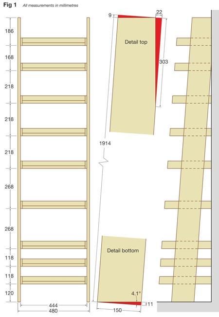 Ladder Shelving Unit Figure (Detail top & bottom)