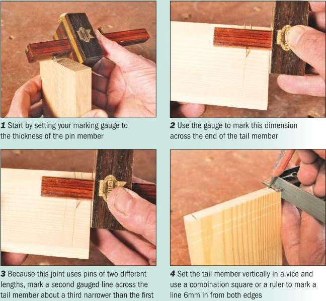 Instructions for making a houndstooth dovetail 1-4